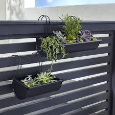 Shop Kalla Rail Planters Made Of Simple Black Coated Steel Our Round Bottomed Planters Hook Over A Rail Or Fence To Planters Outdoor Planters Garden Railings
