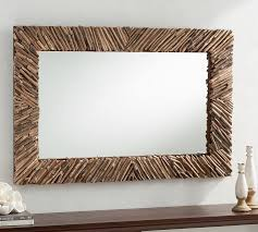 natural driftwood wall mirror pottery