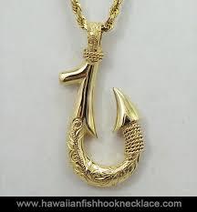 14k gold fish hook pendant hawaiian