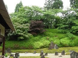 gorgeous zen garden at buddhist temple