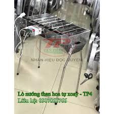Bếp nướng than hoa INOX tự xoay - điện 5V