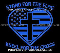 Vrs Stand Flag Kneel Cross America National Anthem Christian Car Vinyl Decal Ebay