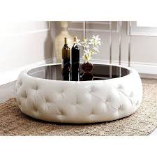 white leather coffee table round black