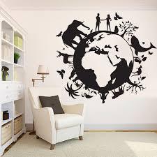 Earth Planet Wall Decal World Globe Vinyl Sticker Biodiversity Wall Decal Ecology Sticker Animal Wall Decor Bio Nature Tree Wall Vinyl 341es In 2020 Wall Decals Animal Wall Decor Music Wall Decal