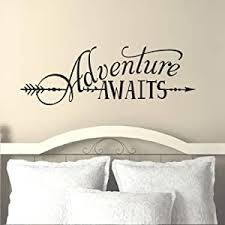 Amazon Com Battoo Adventure Awaits Wall Decal Quote Vinyl Lettering With Arrow Adventure Quote Travel Wall Decal Sticker 22 W 7 5 H Tribal Theme Room Decor Black Kitchen Dining