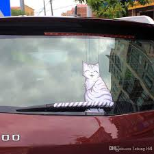 2020 Car Styling Cartoon Smlie Cat Moving Tail Stickers Reflective Car Animals Window Wiper Decals From Letong168 6 04 Dhgate Com