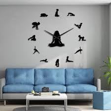 Yoga Poses Diy Giant Wall Clock Find Your Balance Meditation Wall Art Home Dcor Modern Large Wall Clock Watch Mindfulness Gift Wall Clocks Aliexpress