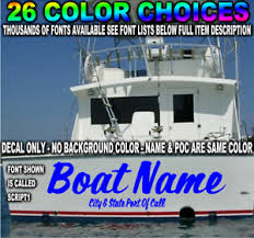 Custom Transom Boat Name Vinyl Decal Lettering Sticker Registration Store Sign Ebay