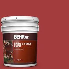 Behr 5 Gal Red Exterior Barn And Fence Paint 02505 The Home Depot