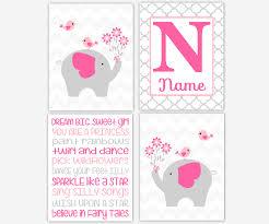 Baby Girl Nursery Wall Art Pink Gray Elephants Personalized Name Art Typography Girl Room Wall Decor Elephant Wall Decor Baby Nursery Decor Dezignerheart Designs C Personalized Baby Nursery Decor