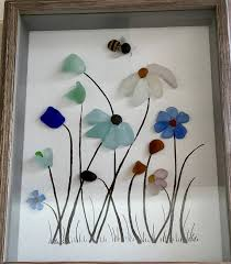 genuine sea glass framed artwork