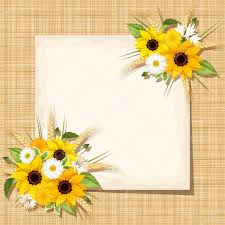 Vector Card With Sunflowers Daisy And Ears Of Wheat On A Sacking
