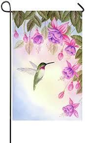 flying hummingbird pink pruple flowers