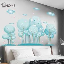 Forest Big Tree Blue Cloud Wall Stickers Furnishings Living Room Decoration Mural Vinyl Wallpaper Home Living Room Bedroom Decor Wall Stickers Aliexpress