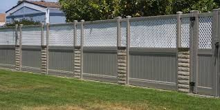 Khaki Solid Vinyl Privacy Fencing With White Lattice Top Vinyl Craft