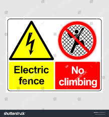 Plate Danger No Climbing Electric Fence Stock Vector Royalty Free 1530620633