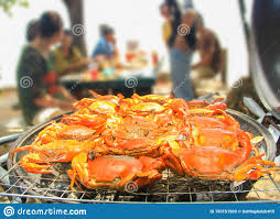 Crab On Flaming Charcoal Fire Grill ...