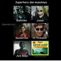 superhero dan musuhnya batman joker lucu spiderman dr octopus o