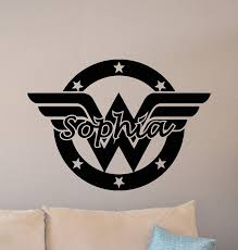 Amazon Com Personalized Wonder Woman Sign Wall Decal Custom Girl Name Logo Superhero Poster Gift Bedroom Decor Vinyl Sticker Playroom Wall Made In Usa Fast Delivery Home Kitchen