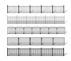 Various Simple Metal Fence Silhouettes With Shadows Stock Vector Illustration Of Brush Pattern 109826264