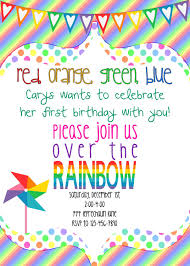 Girly Rainbow Birthday Invitation Printable 5x7 10 00 Via