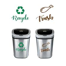 Recycled And Trash Sign Decals Trash Can Green Recycle Vinyl Stickers Decor Trash Logos Decal Trash Can Recycling Vinyl Sticker