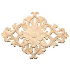 Wood Carving Applique Unpainted Onlay Flower Pattern Door Furniture Cabinet Decal Decor Alexnld Com
