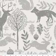 Gray Woodland Animals Fabric By The Yard Silver Fabric Carousel Designs