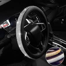 Steering Wheel Cover Bling Bling Rhinestones Crystals Car Handcraft Steering Wheel Covers Leather For Girls Walmart Com Walmart Com