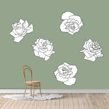 Large Black And White Roses Printed Wall Decals Zazzle Com In 2020 Black And White Roses Wall Prints Feature Wall Wallpaper