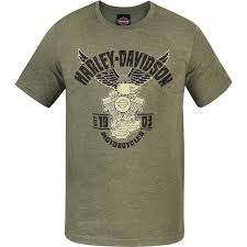 Harley Davidson Military Lightweight Graphic T Shirt Camp Leatherneck Eagle Decal Short Sleeve Shirts Men