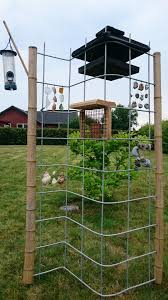 Bird Feeding Station Of Welded Mesh Bent In S Shape With Bamboo Poles Beach Glass Shells And Adder Bird Feeding Station Backyard Birds Sanctuary Bird Feeders