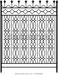 Wrought Iron Gate Door Fence Window Stock Vector Royalty Free 105493400