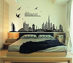 Amazon Com Ufengke Black City Silhouette Cityscape Skyscraper Wall Decals Living Room Bedroom Removable Wall Stickers Murals Home Kitchen