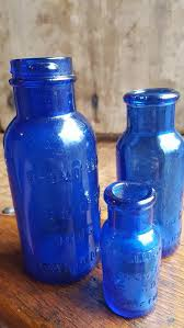 cobalt blue glass bromo seltzer bottles