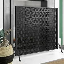 glam single panel iron fireplace screen