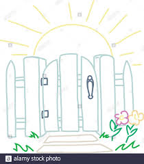 Storybook White Picket Fence With Flowers And A Latched Gate A Sun Is Rising Behind It Stock Vector Image Art Alamy