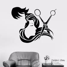 Man And Girl Long Hair Scissors Tools Art Decal Wall Sticker Barber Shop Decor Grooming Salon Wall Decal Vinyl Sticker Wall Decals For Cheap Wall Decals For Girls Room From Joystickers 12 66