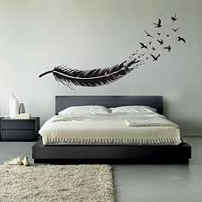 Amazon Com Vinyl Feather Wall Decal Birds Of A Feather Wall Art Sticker Birds Feather Wall Decor Wall Applique Wall Graphic Home Interior Design Black Home Kitchen