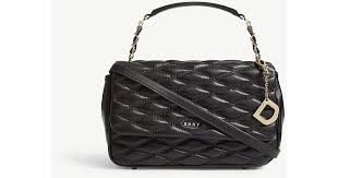 dkny quilted leather shoulder bag in