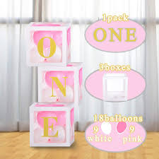 Amazon Com Baby Girl Birthday Party Blocks Boxes Decorations 1st Birthday Balloons Boxes Party Decorations With One Letters For Girls 1 Year Old Birthday Party Supplies Health Personal Care