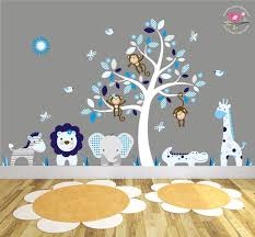 Jungle Wall Stickers White Tree Decal Grey And Blue Giraffe Etsy
