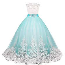 pageant long dress kids tulle prom ball