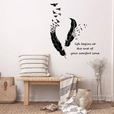 Best Sale 16d3 Feathers Turning Into Birds Wall Sticker Art Murals Home Decor Living Room Bedroom Decoration Life Begins Wall Decals Cicig Co