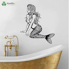 Yoyoyu Wall Decal Sexy Mermaid Wall Stiocker Wall Mural For Bathroom Girls Room Ocean Sea Style Poster Vinyl Art Decor Qq225 Wall Stickers Aliexpress
