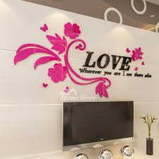 Flower Wall Decals Letter Pink Purple Acrylic Living Room Decorative