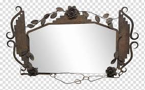 rectangular brown metal framed mirror