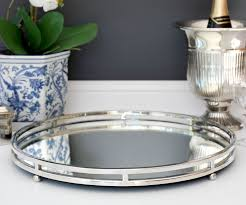 camille large round silver mirror tray