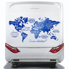 Camping Car Decals World Map In Italian Oceans And Continents Muraldecal Com