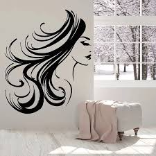 Girl Face Wall Decal Woman Long Hair Hairstyle Makeup Room Beauty Salon Interior Decor Vinyl Window Stickers Bedroom Mural C034 Wall Stickers Aliexpress